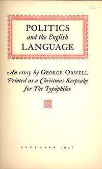 Politics and the English Language by George Orwell