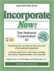 Incorporate Now!: The National Corporation Kit [With Cdrm]
