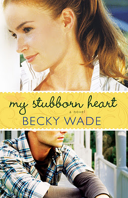 cover of My Stubborn Heart by Becky Wade shows a blond woman looking one direction and then a man sitting on a porch looking the opposite way
