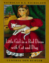Little Girl in a Red Dress with Cat and Dog
