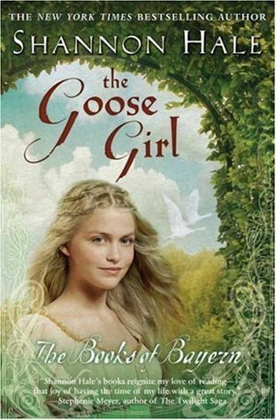 cover of The Goose Girl by Shannon Hale shows a girl in a green arbor with geese flying behind her