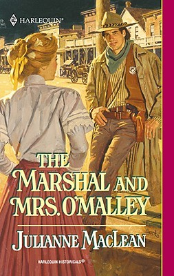 Illustration of an Old West sheriff leaning against a post while a woman in a full pink skirt and white shirtwaist walks past with her back to the viewer.
