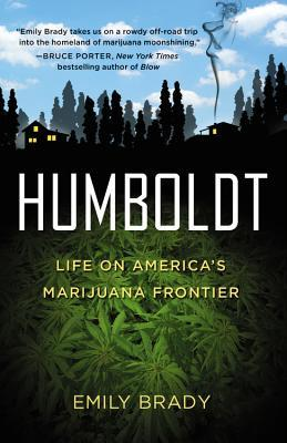 Cover of First Year Forum text, Humboldt by Emily Brady. Shows a sillhouette of two rural houses against a blue sky, with marijuana leaves in the foreground