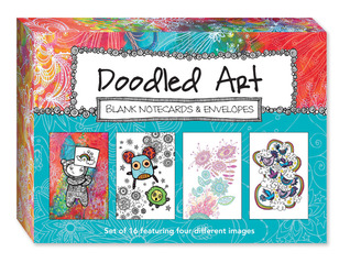 Doodled Art Blank Note Cards & Envelopes: Set of 16 featuring four different images