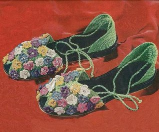 FLORAL SLIPPER SANDALS - A Vintage 1950 Crochet Shoe Pattern with Flowers and Rhinestones Spool Cotton Company Clarks O.N.T. J.and P. Coats