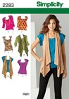 Simplicity 2283 Size 6-14 Misses Knit Top and Vests