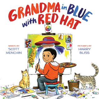 Grandma in Blue with Red Hat