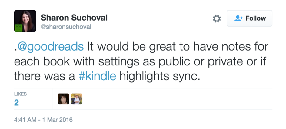 Tweet about Goodreads with Kindle Notes