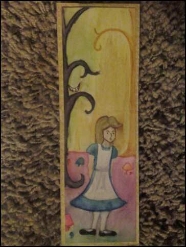 Lovely hand-drawn Alice In Wonderland Bookmark sent to me by Misty for Bookmark Swap #1!