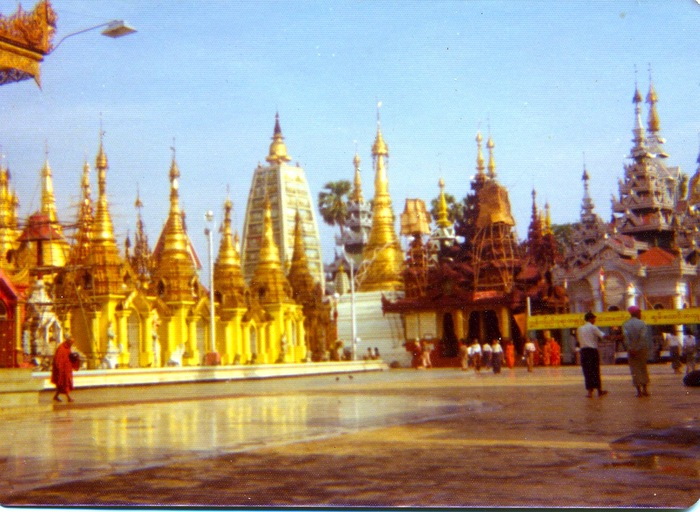In 1975 this is what the main temple in Rangoon looked like.  That all real gold on those temples