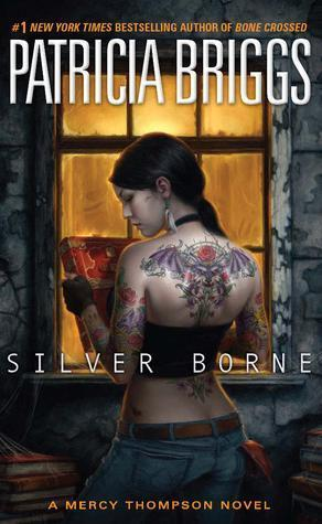 Cover art for the 5th book in the Mercy Thompson series, Silver Borne.