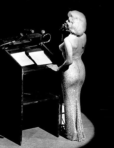 Marilyn Monroe singing Happy Birthday to JFK.