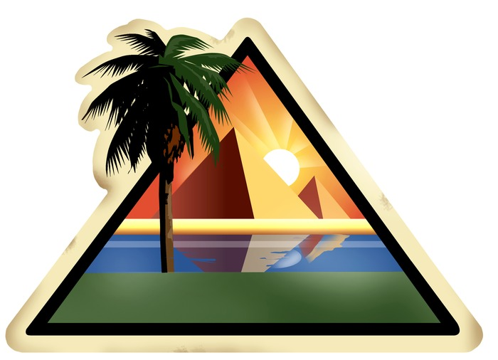 Novel Destinations - Egypt: This image of the Great Pyramids of Egypt (in the background), with the Nile River and palm trees in the foreground,  symbolizes travel to Egypt. The style of the art in particular represents a vintage style of poster art used by artists who designed travel posters for the WPA in the 1930's. The style was continued in other posters and stickers purchased by tourists in the early twentieth-century.