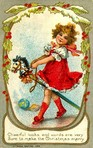 I love this vintage Christmas picture.  It looks like she is getting ready to ride her broomstick some day... Hope we are all having fun reading the December book.