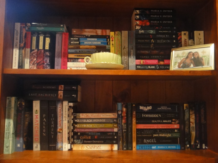 More on the 'new' shelf...  SHELF TWO: More paperbacks, a tea cup and a photo with the best friend <3 Oh, and some random cookbooks. :P The gap is because a friend has my copy of The Iron King.  SHELF THREE: Quite a few taller paperbacks and you can see some of the swap books I've received if you know what to look for... There's a gap here since Delirium is out with a friend.
