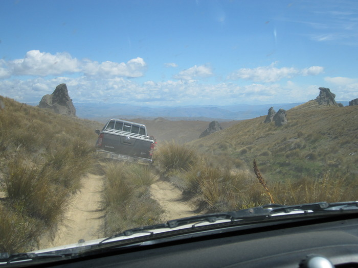 This is a photo I took whilst my partner was driving my Rav on a 4WD trip in the hills of Central Otago. Scary stuff!