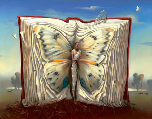 Can you spot: butterfly book human