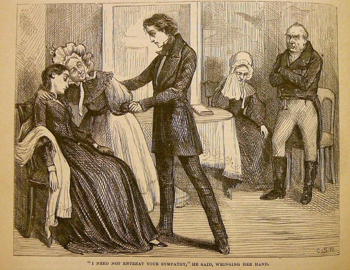 """From the 1875 Household Edition of Nicholas Nickleby by Charles Dickens. Illus. by C.S. Reinhart.  """"I need not entreat your sympathy,"""" he said, wringing her hand."""
