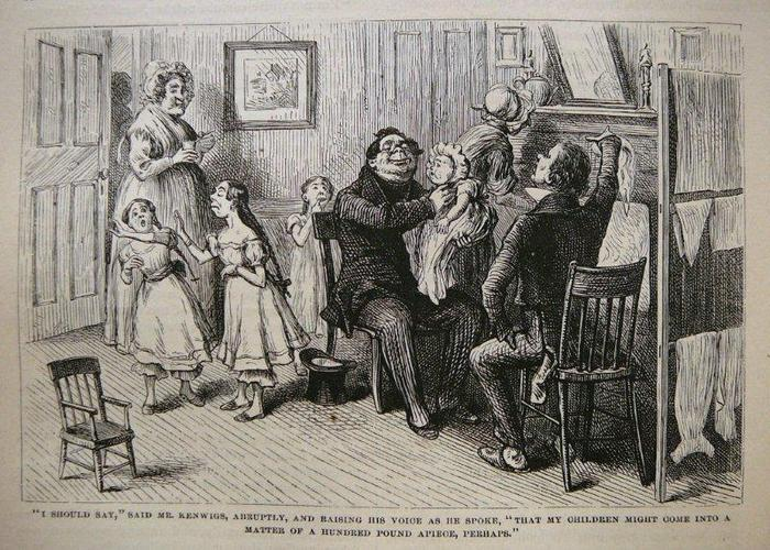 """From the 1875 Household Edition of Nicholas Nickleby by Charles Dickens. Illus. by C.S. Reinhart.  """"I should say,"""" said Mr. Kenwigs, abruptly, and raising his voice as he spoke, """"that my children might come into a matter of a hundred pound apiece, perhaps."""""""