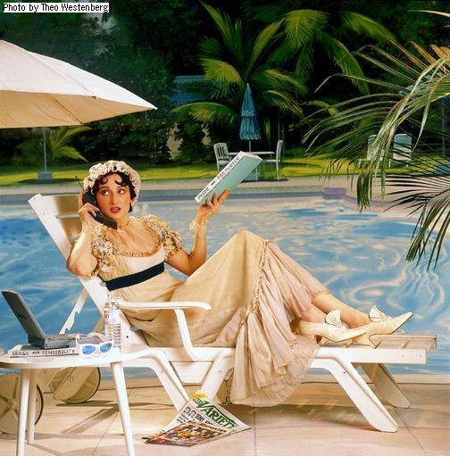 This is exactly what she would be doing if she were still with us. ;) Reading her novels (or writing more) and answering fan calls by the pool & with a waiter standing by to answer to her every whim. ;D Very cutsie. ♥