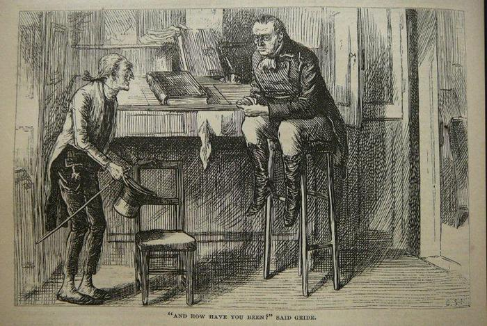 """From the 1875 Household Edition of Nicholas Nickleby by Charles Dickens. Illus. by C.S. Reinhart.  """"And how have you been? said Gride."""""""