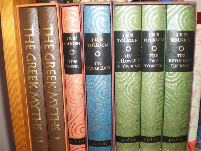 My Treasured copies of The Greek Myths, The Hobbit, The Simarillion and The Lord of the Rings!