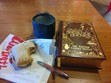 A nice sandwich, English breakfast tea, and my pen... Ready to keep on reading.