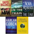 1) Memory Man by David Baldacci 2) The Girl on the Train by Paula Hawkins 3) The Liar by Nora Roberts 4) The Stranger by Harlan Coben 5) Miracle at Augusta by James Patterson