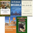 1) How to Listen to and Understand Great Music by Robert Greenberg 2) Missoula by Jon Krakauer 3) Fields of Blood by Karen Armstrong 4) Fodor's Essential Italy by Nicole Arriaga 5) The Masks of God by Joseph Campbell