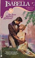 A vintage romance novel cover with a drawn characters embrasing.