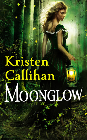 A blonde woman in a green dess walks in the woods with a lantern.
