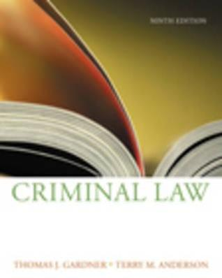Criminal Law Terry M. Anderson