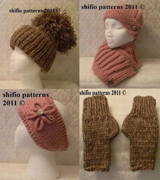 Knitting Pattern - hat, scarf, mitts and headband #197  by  ShiFios Patterns