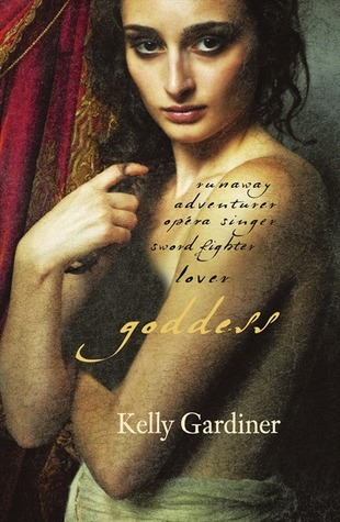 cover of Goddess - sepia toned painting of young woman, topless (but covered) and looking seductive or thoughtful