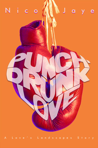 Cover Image for Punch-Drunk Love. Orange background with red boxing gloves suspended in the center. The title Punch-Drunk Love is superimposed above the gloves in text that forms the shape of a heart.