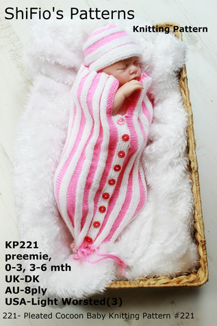 221- Pleated Cocoon Baby Knitting Pattern #221 ShiFios Patterns