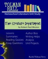 The Creature Department by Robert Paul Weston a Tolman Hall H... by Rachel Tolman Terry