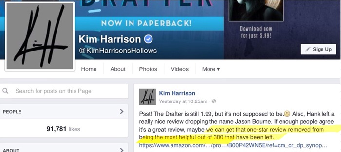 author Kim Harrison manipulating Amazon reviews to bury  negative rating